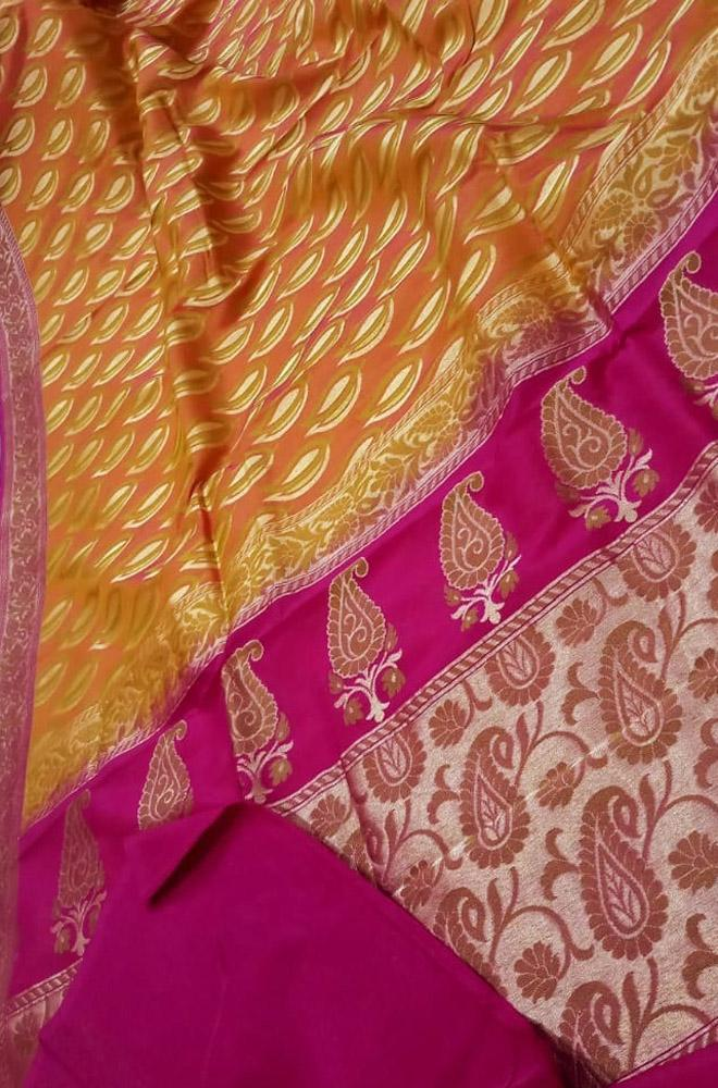Orange Handloom Banarasi Pure Katan Silk Zari Booti Meenakari Saree - Luxurionworld