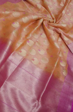 Orange Handloom Banarasi Pure Kora Silk Meena Booti Saree - Luxurionworld