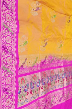 Orange  Pink Handloom Banarasi Pure Katan Silk Meenakari Saree With Paithani Design Border - Luxurionworld