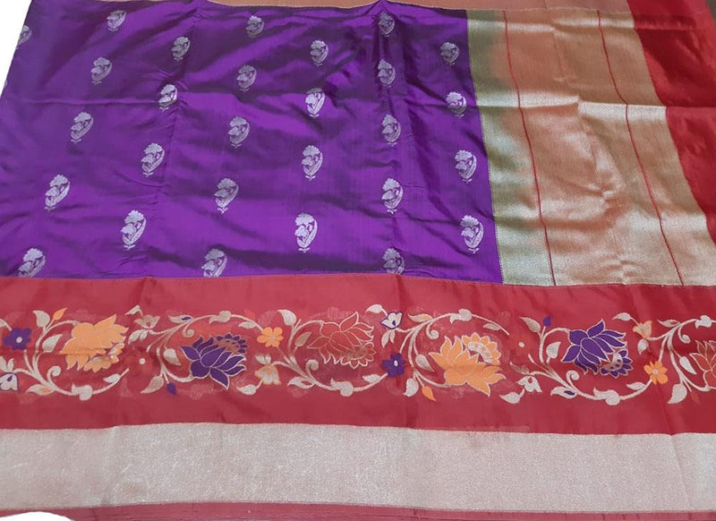 Purple Handloom Banarasi Pure Katan Silk Saree With Meenakari Border