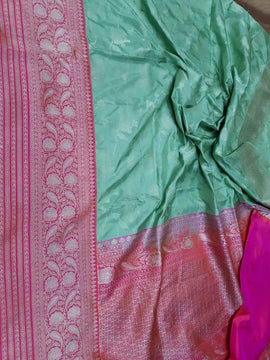 Bluish Green Handloom Banarasi Pure Katan Silk Saree - Luxurionworld