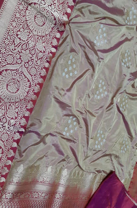 Pastel Handloom Banarasi Pure Katan Silk Saree - Luxurionworld