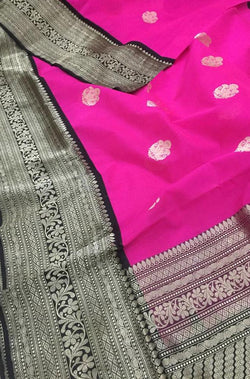 Pink Handloom Banarasi Kora Silk Saree With Katan Silk Border