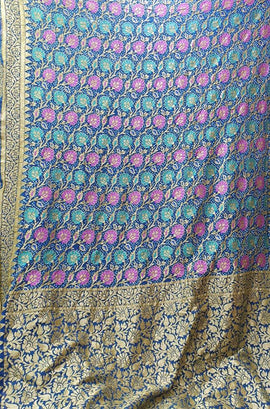 Blue Banarasi Bandhani Pure Georgette Meenakari Saree - Luxurionworld
