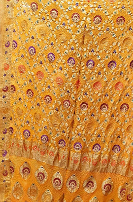 Yellow Banarasi Bandhani Pure Georgette Meenakari Saree - Luxurionworld