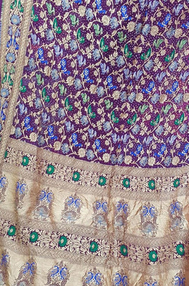 Purple Banarasi Bandhani Pure Georgette Meenakari Saree - Luxurionworld