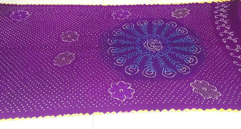 Purple  Bandhani Pure Gajji Silk Saree - Luxurionworld
