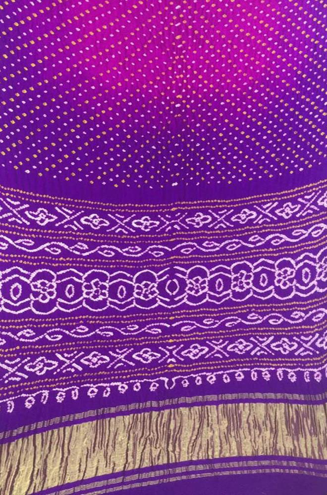 Purple Bandhani Pure Gajji Silk Saree