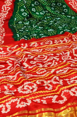 Red and Green Bandhani Pure Gajji Silk Saree