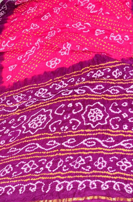 Pink and Purple Bandhani Pure Gajji Silk Saree