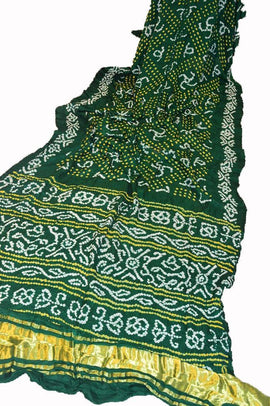 Green Bandhani Pure Gajji Silk Saree