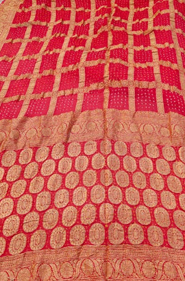 Pink and Red Banarasi Bandhani Chiffon Georgette Saree