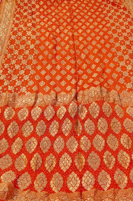 Orange Banarasi Bandhani Chiffon Georgette Saree