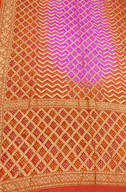 Orange and Purple Banarasi Bandhani Pure Georgette Saree - Luxurionworld