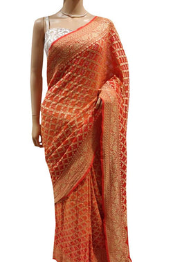 Orange Banarasi Bandhani Pure Georgette Checks Saree - Luxurionworld