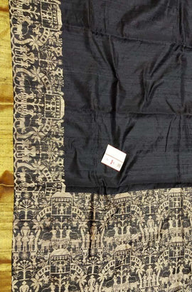 Black  Handloom Bhagalpur Dupion Raw Silk Saree - Luxurionworld