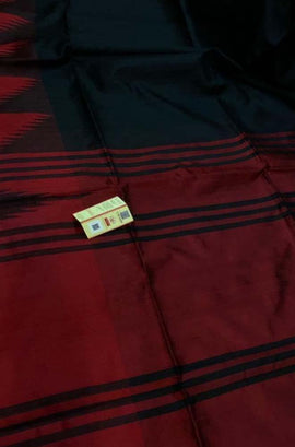 Black_Handloom_Bhagalpur_Raw_Silk_Temple_Design_Border_Saree