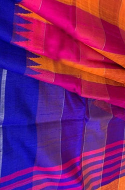 Orange And Pink Checks Handloom Bhagalpur Raw Silk Saree With Temple Design Blue Border - Luxurionworld