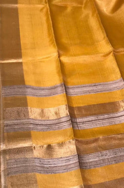Yellow Handloom Bhagalpur Pure Tissue Tussar Silk Saree