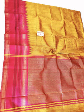 Yellow Handloom Bhagalpur Dupion Raw Silk Saree