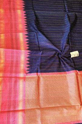 Blue and Purple Shot Color Handloom Bhagalpur Dupion Raw Silk Saree - Luxurionworld