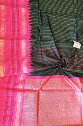 Green and Black Shot Color Handloom Bhagalpur Dupion Raw Silk Saree - Luxurionworld