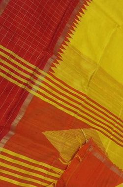 Yellow And Red Handloom Bhagalpur Raw Silk Silver And Temple Design Border Plain Saree