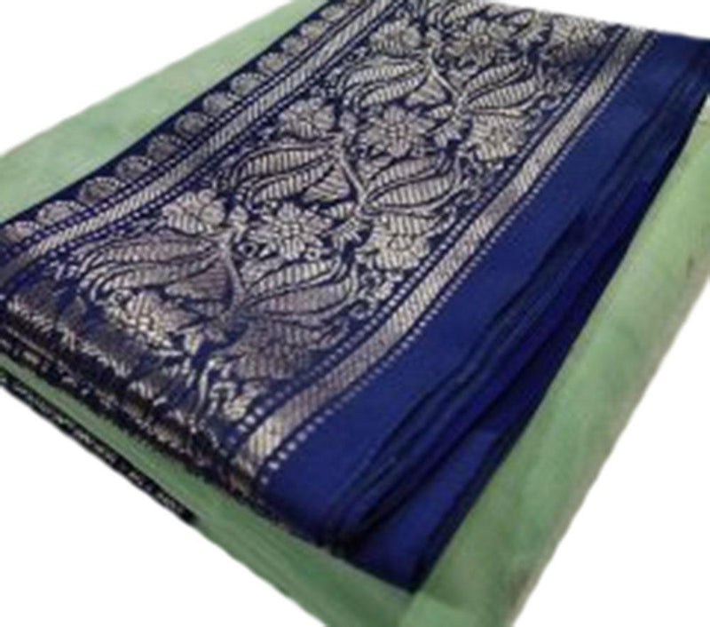 Green Handloom Chanderi Pure Katan Silk Silver Booti Saree