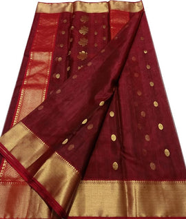 Maroon Handloom Chanderi Katan Silk Saree - Luxurionworld