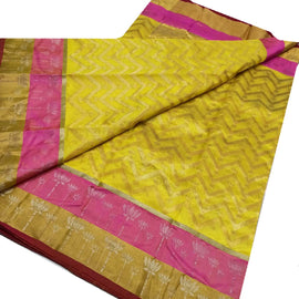 Yellow Handloom Chanderi Pure Silk Saree