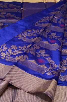 Blue Handloom Chanderi Pure Silk Saree