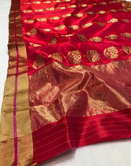 Red Handloom Chanderi Pure Silk Meena Booti Saree