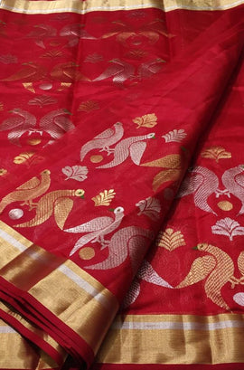 Red Handloom Chanderi Pure Silk Sona Roopa Bird Design Saree