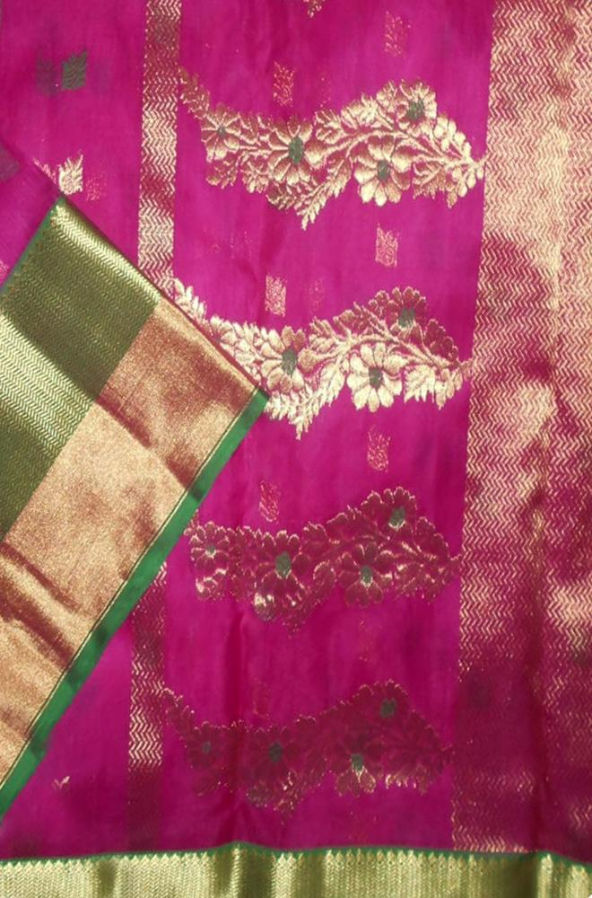 Pink Handloom Chanderi Pure Katan Silk Meenakari Saree - Luxurionworld