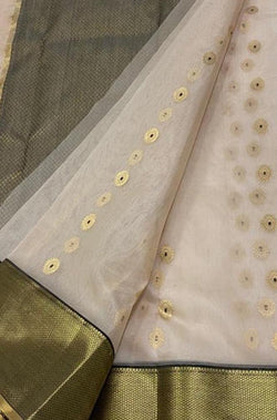 Off White Handloom Chanderi Pure Katan Silk Flower Design Meena Muta Saree - Luxurionworld