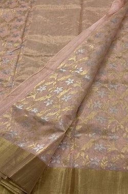 Pink Handloom Chanderi Silk Cotton Flower Design Sona Roopa Saree - Luxurionworld