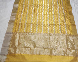 Yellow Handloom Chanderi Pure Katan Silk Sona Roopa Saree