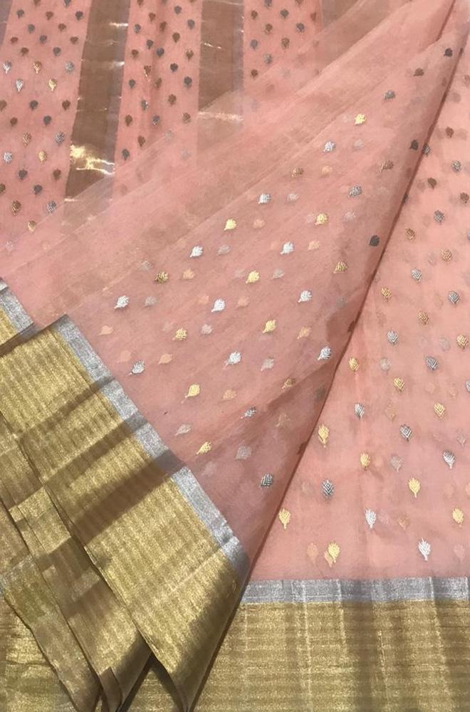 Pink Handloom Chanderi Pure Katan Silk Ghani Booti Sona Roopa Saree With Contrast Border