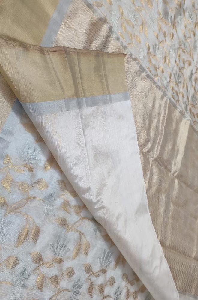 Off White Handloom Chanderi Pure Silk Sona Roopa Saree With Contrast Border - Luxurionworld