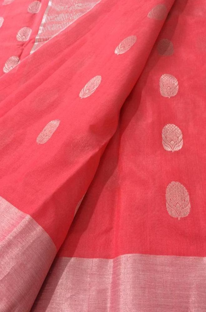 Pink Handloom Chanderi Silk Cotton Saree With Contrast Border - Luxurionworld