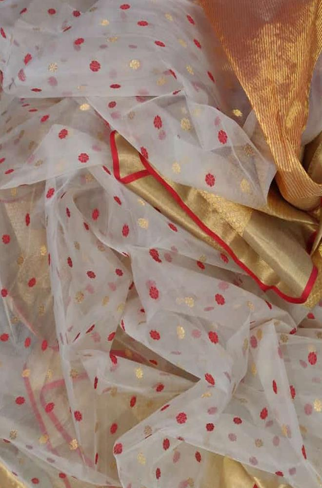 Off White Handloom Chanderi Katan Organza Silk Saree - Luxurionworld