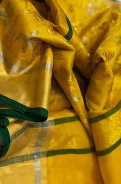 Yellow Handloom Chanderi Pure Katan Organza Silk Sona Roopa Saree