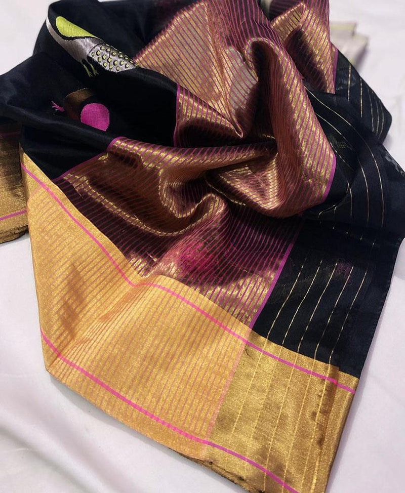 Black Handloom Chanderi Pure Silk Peacock Design Meenakari Saree