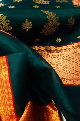 Green Handloom Chanderi Pure Katan Organza Silk Saree