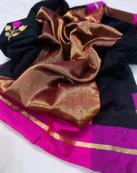 Black Handloom Chanderi Pure Silk Meenakari Saree