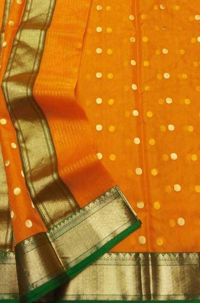 Yellow Handloom Chanderi Katan Silk Saree With Contrast Border