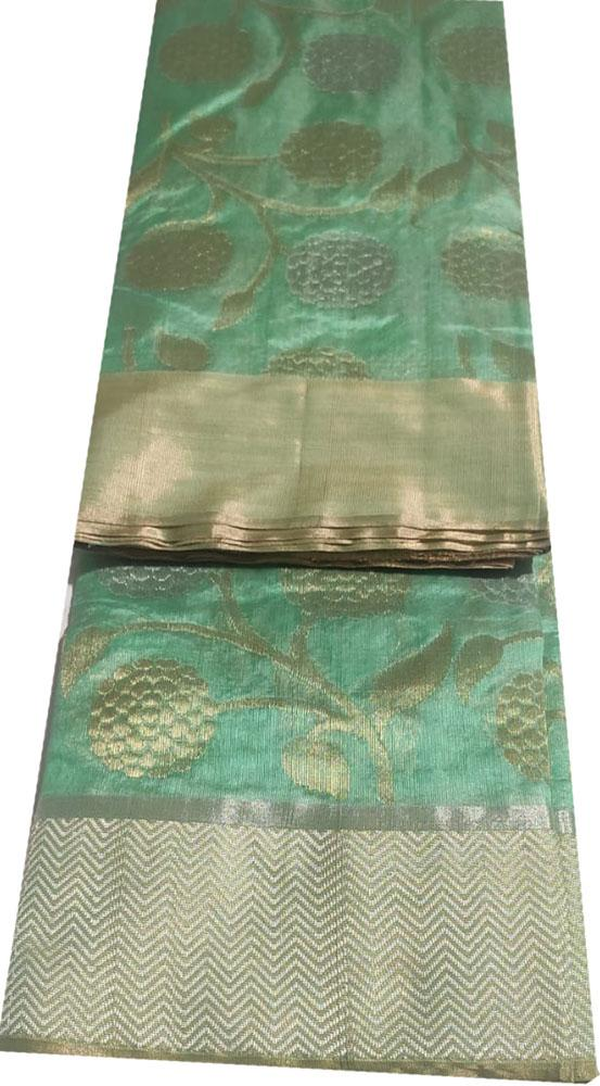 Green Handloom Chanderi Pure Silk Sona Roopa Saree