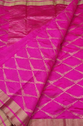 Pink Handloom Chanderi Pure Silk Saree
