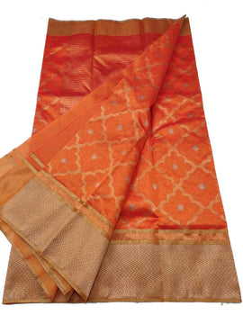 Orange Handloom Chanderi Pure Silk Saree