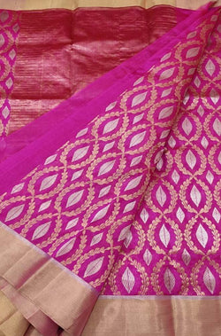 Pink Handloom Chanderi Pure Silk Sona Roopa Saree